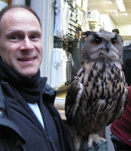 Ivan with Great Horned Owl in Kendal - care of Wise Owl World