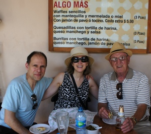 Me, Ivan and Dad at a cafe on the Square in Merida