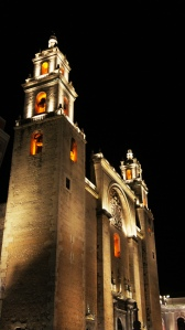 Cathedral in Merida at night