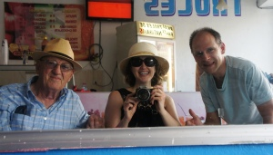 Me, Dad and Ivan in ice cream shop in Progresso